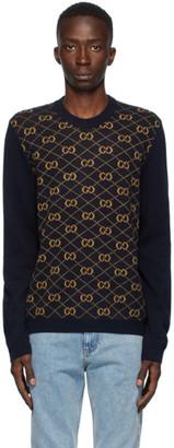 Gucci Navy Wool Jacquard GG Sweater