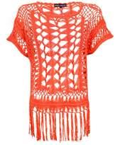 Select Fashion Fashion Womens Orange Knot Stitch Crochet Top - size M