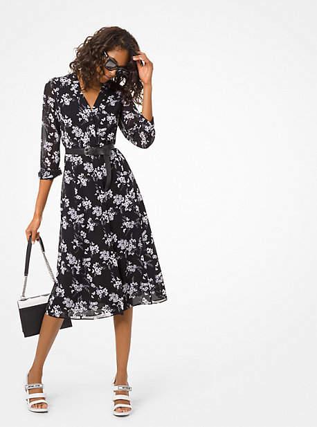 Michael Kors Botanical-Print Georgette Shirtdress