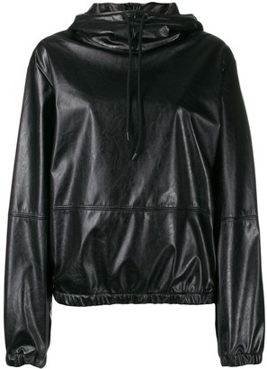 MSGM Elasticated Leather Effect Hoodie