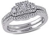 Concerto .5 CT Princess and Round Diamonds TW 14k White Gold Wedding Ring Set