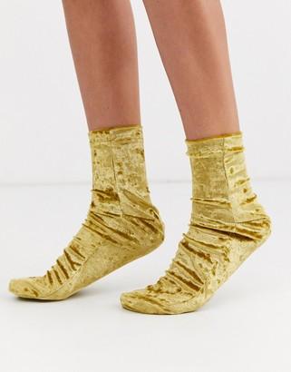 ASOS DESIGN velvet socks in mustard
