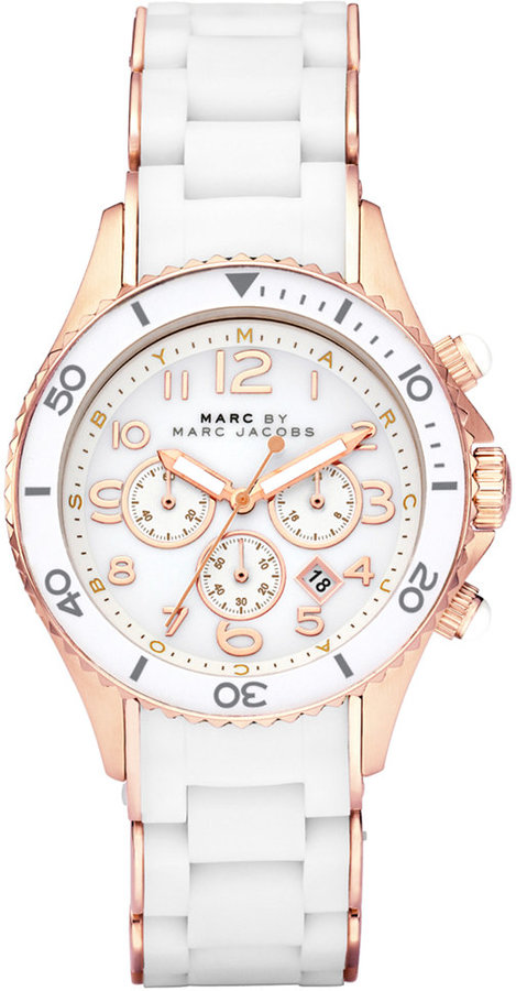 Marc by Marc Jacobs Watch, Women's Chronograph Rock White Silicone-Wrapped Rose Gold Ion-Plated Stainless Steel Bracelet 40mm MBM2547