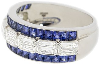 Kwiat platinum Ashoka diamond and calibre cut sapphire eternity band