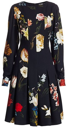 Oscar de la Renta Floral Panel Dress