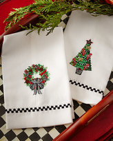 Mackenzie Childs MacKenzie-Childs Christmas Greens Guest Towels, Set of 2