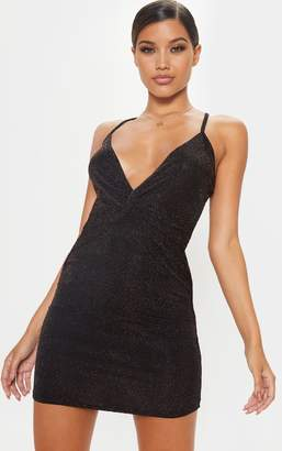 PrettyLittleThing Black Strappy Cross Back Textured Sheer Glitter Bodycon Dress