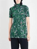Y-3 Y3 Ladies Terra Mass Graphic Print Aop High Neck Stretch-Cotton T-Shirt