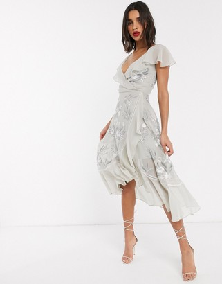 Frock and Frill embroidered ruffle midi dress in grey