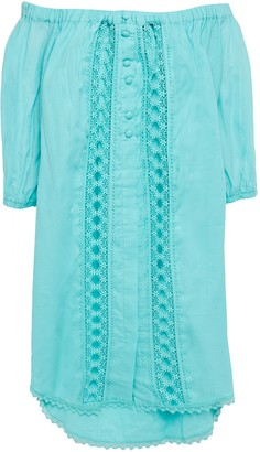 Charo Ruiz Ibiza Off-the-shoulder Crocheted Lace-trimmed Cotton-blend Voile Mini Dress