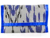 Felix Rey Blue White Satin Metal Mesh Printed Envelope Clutch Bag Handbag