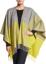 Neiman Marcus Two-Tone Wool Ruana Shawl, Flannel Gray/Citron