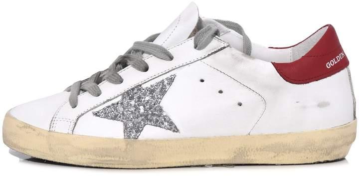 Golden Goose Superstar Sneakers in White/Red/Silver Glitter Star