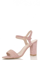 Quiz Pink Diamante Block Heel Sandals