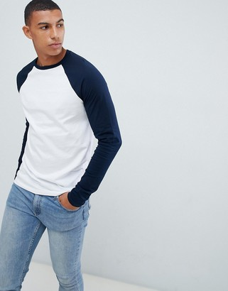 Asos DESIGN long sleeve t-shirt with crew neck with contrast raglan sleeves
