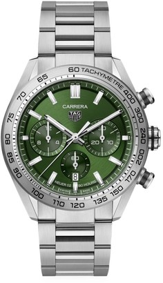 Tag Heuer Carrera 44MM Stainless Steel Bracelet Automatic Tachymeter Date Chronograph Watch