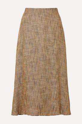Theory Herringbone Tweed Midi Skirt - Brown