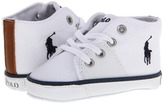 Ralph Lauren Cantor Mid (Infant/Toddler) (White Canvas) Kids Shoes