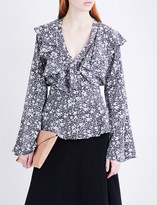 Co Floral-print ruffled silk blouse