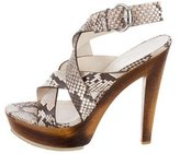 Gucci Snakeskin Crossover Sandals