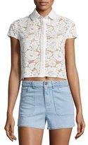 Alice + Olivia Loni Short-Sleeve Lace Top, Cream