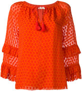 Tory Burch ruffled sleeves patterned blouse - women - Silk/Polyester/Viscose - 10