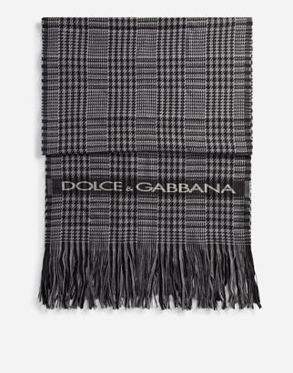 Dolce & Gabbana Glen Plaid Wool Scarf