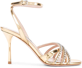 Miu Miu Jewel Ankle Strap Heels in Gold | FWRD