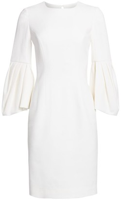 Carolina Herrera Bell Sleeve Sheath Dress