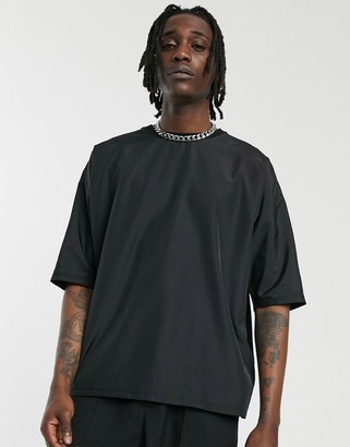 Asos Design DESIGN oversized t-shirt with half sleeve in woven fabric-Black