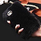 iPhone 7 Case, iPhone 7 Plus Case, Yoyorule Luxury Crystal Bling Case Winter Warm Soft Faux Fluffy Villi Fur Plush Wool Cover Skin (iPhone 7 Plus, Black)
