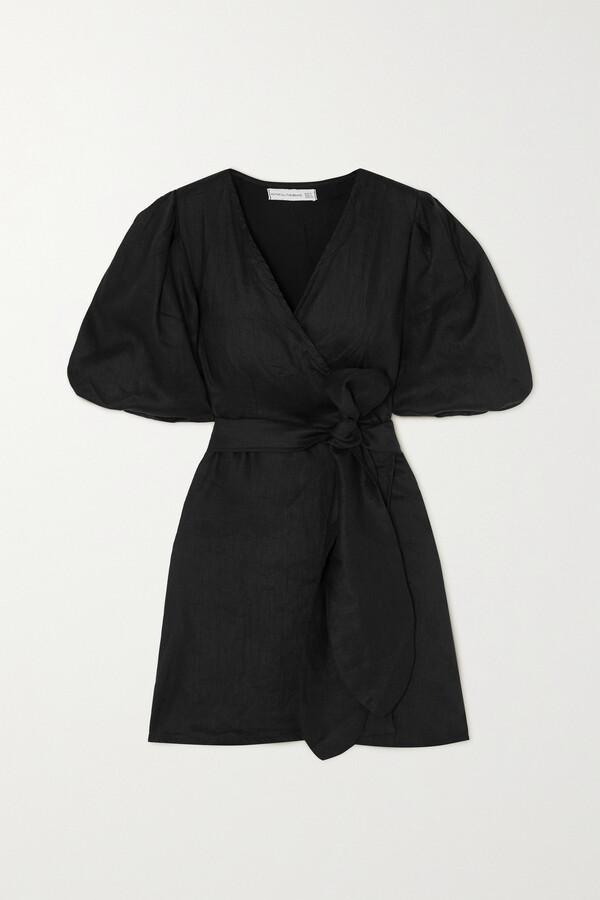 Faithfull The Brand + Net Sustain Godiva Paisley-print Linen Mini Wrap Dress - Black
