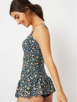 George Post Surgery Black Ditzy Floral Skirted Swimsuit