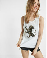 Express one eleven lace print lion graphic muscle tank