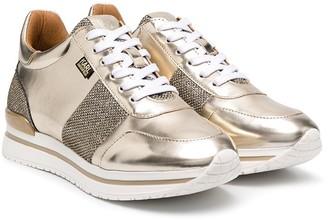 Karl Lagerfeld Paris Gold Metallic Trainers