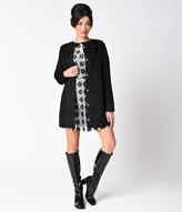 Moon Collection Retro Style Black Bow Button Up Mod Jacket