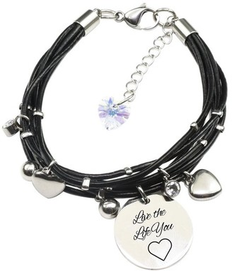 Pink Box Genuine Leather Bracelet made with Crystals from Swarovski - Live the life you love