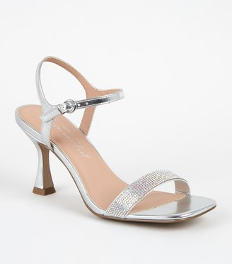 New Look Metallic Diamante Strap Slim Flared Heels