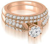 Ice 2 CT TW Antique Cathedral Round Cut Diamond Bridal Set in 18K Rose Gold