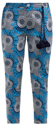 Figue Zulu Cropped Cotton Trousers - Blue Print