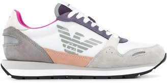 Emporio Armani Round Toe Eagle Print Sneakers
