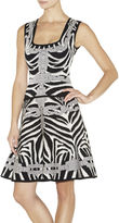 Herve Leger Miranda Chain Detail Zebra Jacquard Dress