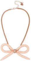Betsey Johnson Rose Gold-Tone Crystal Mesh Filled Bow Collar Necklace
