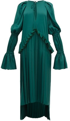 KHAITE Cara Pleated Stepped-hem Satin Dress - Green