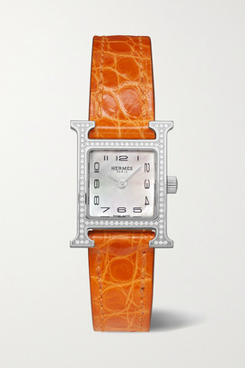 HERMÈS TIMEPIECES Heure H 17.2mm Very Small Stainless Steel, Alligator, Mother-of-pearl And Diamond Watch - Orange