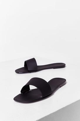 Nasty Gal Womens Slide By Slide Faux Leather Flat Sandals - Black - 8