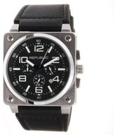 Republic Men's Stainless Steel Black Leather Strap Chrono Aviation Watch