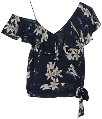 Paige Chereen Floral Cold Shoulder Ruffled Silk Blouse