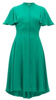 Alexander McQueen Ruffled-sleeve Silk Crepe De Chine Dress - Womens - Green