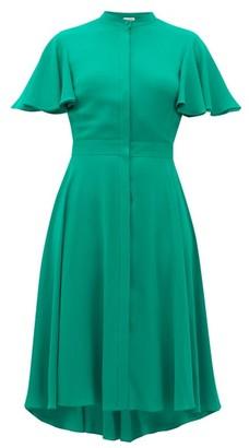 Alexander McQueen Ruffled-sleeve Silk Crepe De Chine Dress - Green